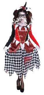 scary girl costumes scary harlequin clown girl fancy dress costume