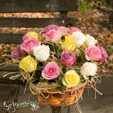 multicolored roses flowers delivery basket of 25 multicolored roses mix fresh