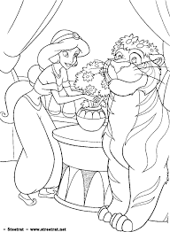 princess jasmine aladdin genie monkey disney coloring