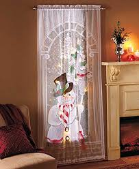 decorative led lighted snowman lace window sheer curtain
