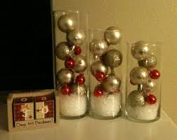 Dollar Store Christmas Bulbs Fake Snow And Left Over Cylinder