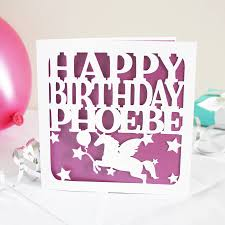 Birthday Card Personalised Unicorn Birthday Card By Whole In The Middle