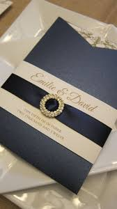 navy blue satin ribbon pocket sleeve navy and gold invitations with satin ribbon sash and
