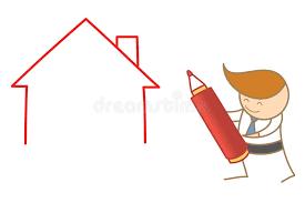 casa disegno casa disegno dell uomo di affari illustrazione vettoriale