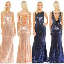 affordable goddess rose gold and navy drape back maxi bridesmaid
