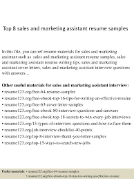 Sales And Marketing Resume Examples by Top 8 Sales And Marketing Assistant Resume Samples 1 638 Jpg Cb U003d1427857692