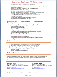 laundry assistant cv template tips and download u2013 cv plaza