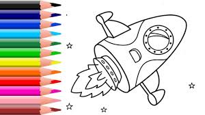 how to draw rocket coloring pages teach drawing for kids learn