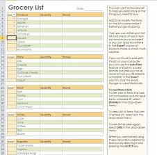 Excel List Templates Grocery Shopping List Template For Excel