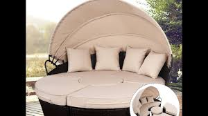 Outdoor Wicker Patio Furniture Round Canopy Bed Daybed - outdoor mix brown rattan patio sofa furniture round retractable