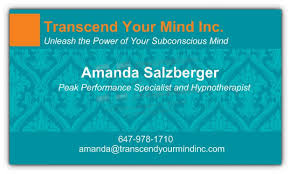 Hypnotherapy Business Cards Contact Transcend Your Mind Clinical Hypnotherapy