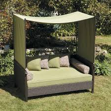 Outdoor Wicker Patio Furniture Round Canopy Bed Daybed - exterior swing daybed with white canopy using wooden arch frame