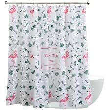 Flamingo Shower Curtains Decorative White And Green Flamingo Shower Curtains