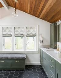 green bath bench with drawers transitional bathroom