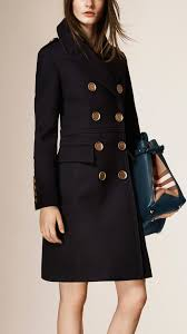 burberry leather trim wool military coat in blue lyst