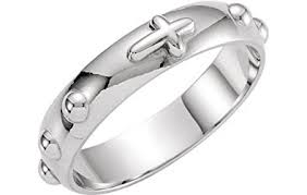 rosary ring 4 75mm sterling silver cross rosary ring