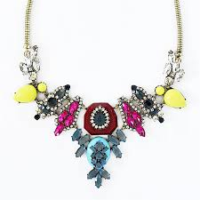 stone colored necklace images Multi colored crystal and stone bib chunky crystal statement jpg