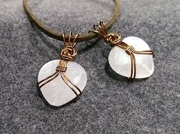 heart stone necklace pendants images Pendant wire wrapped heart shaped stone with no holes 140 jpg