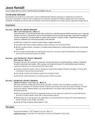 Foreman Resume Example by Free Construction Estimator Resume Example