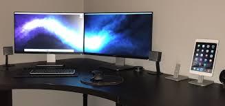 Desk For Dual Monitor Setup Mac Setup Macbook Pro With Twin 24 U2033 Displays