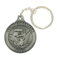 united states navy antique pewter finished keychain