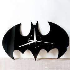 mirror wall stickers clock black bat creative home decor diy