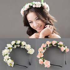 flower band flower garland floral bridal headband hairband wedding prom pink
