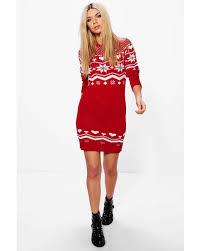 boohoo clothing lyst boohoo freya heart fairisle christmas jumper dress in