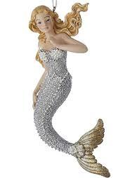 kurt adler halloween mermaid christmas ornament silver w gold tail c8738 a digs n gifts