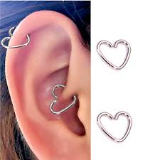 hoop cartilage earrings 6 pc 18g 3 8 heart shaped surgical steel ear cartilage earring