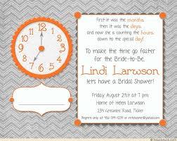 around the clock bridal shower around the clock bridal invitation bold bright colors orange gray