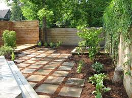 mulch replacement landscape modern with privacy screen brown deck