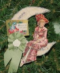 antique victorian die cut crepe paper wired xmas ornament bow w