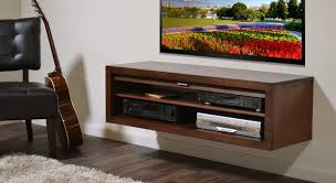 cool white wood wall mounted tv cabinet for dark interior space