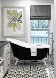black and gray bathroom with yellow transitional bathroom