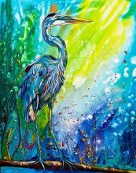 great blue heron in flight watercolor by kim attwooll my