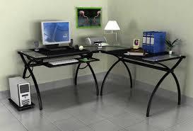 Black Glass L Shaped Desk Corner Desk And Shelves Black Glass L Desk Corner Desk L