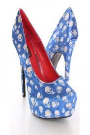 Skull High Heels Baby Blue Skull Printed High Heels Classic Chicana U0027s Club