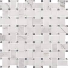 Elegance Black And White Mosaic by Ms International Calacatta Cressa Basketweave 12 In X 12 In X 10