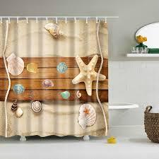 custom design curtains 2018 luxury smart beach starfish wood shell shower curtains custom