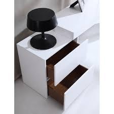 White High Gloss Office Desk Modern Two Drawer White High Gloss Office Desk With Glass Leg