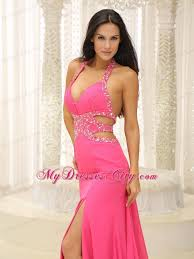 pink halter beaded decorate prom dress with cut out waist