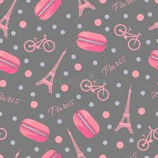 eiffel tower wrapping paper seamless pattern with tasty macaroons eiffel tower bike