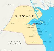kuwait political map with capital kuwait city national borders