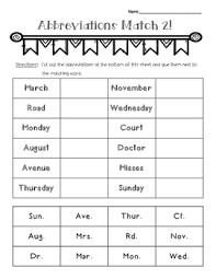 i created this abbreviations matching activity worksheet to