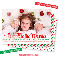 newborn christmas card photo card the more the merrier