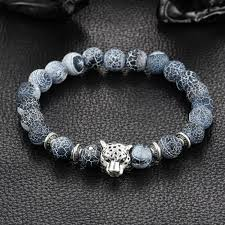 natural stone beaded bracelet images Wholesale antique silver plated buddha leopard head bracelet lava jpeg