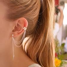 cuff earrings with chain 2018 stylish rock leaf chain tassel dangle ear cuff wrap