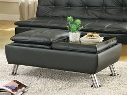 black leather like vinyl storage ottoman by coaster 300283