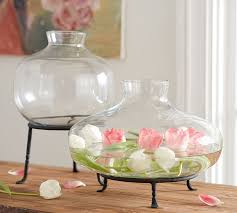 Footed Glass Vase Irving Glass Vases Pottery Barn